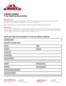 5 Year Traditional Stucco System Warranty Request Form