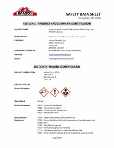 SDS Imasco Cement Products