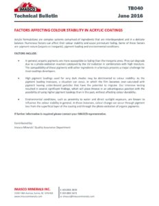 Factors Affecting Colour Stability in Acrylic Coatings